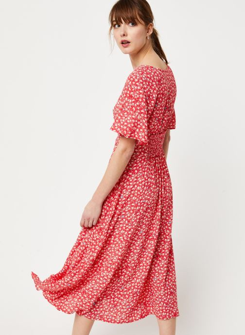 Vêtements Free People IN FULL BLOOM DRESS Rouge vue portées chaussures