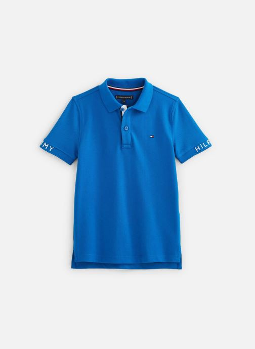 Vêtements Tommy Hilfiger Polo Sleeve Text Polo S/S Bleu vue détail/paire