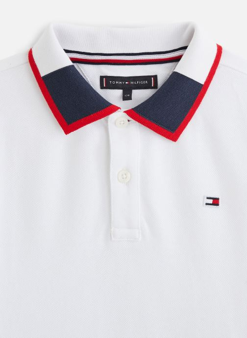 Vêtements Tommy Hilfiger Polo Intarsia Collar Polo S/S Blanc vue portées chaussures