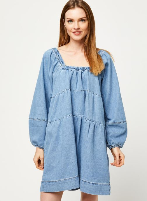 Vêtements Free People BLUE JEAN BABYDOLL DRESS Bleu vue droite