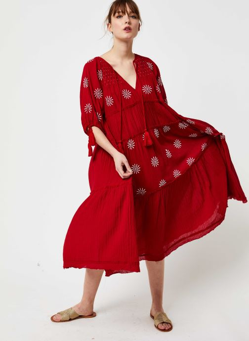 Free People Robe midi - Celestial Skies Maxi Dress (Rouge) - Vêtements (416374)
