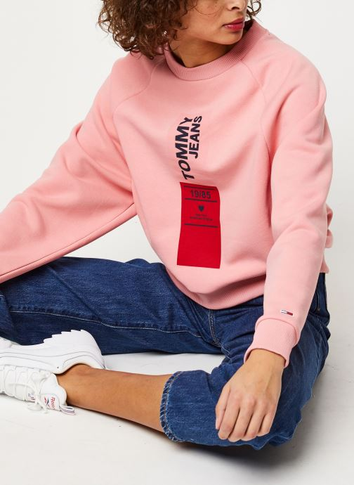 Vêtements Tommy Jeans TJW Vertical Logo Sweatshirt Rose vue détail/paire