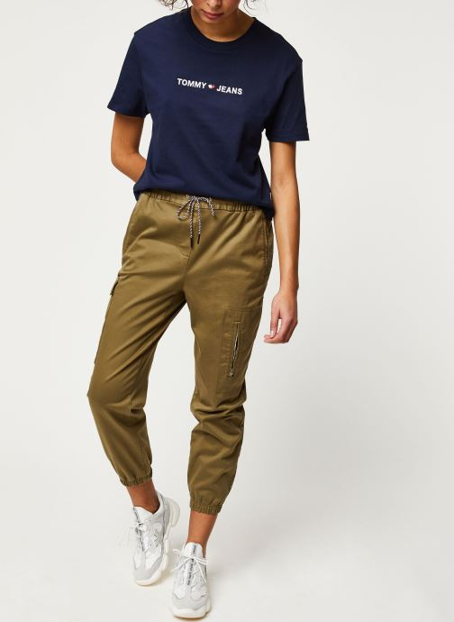 Vêtements Tommy Jeans TJW Cargo Jogger Vert vue bas / vue portée sac