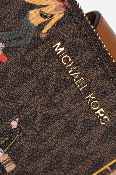 Marroquinería pequeña Michael Michael Kors WRISTLET DOUBLE ZIP AROUND Marrón vista lateral izquierda