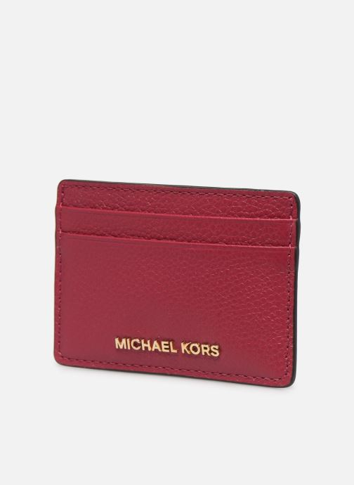 Pelletteria Michael Michael Kors JET SET CARD HOLDER Rosa modello indossato
