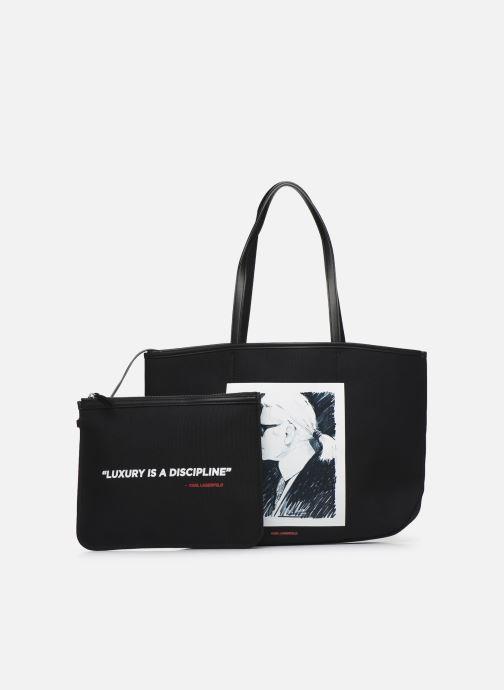 Bolsos de mano Karl Lagerfeld Karl Legend Canvas Tote Negro vista lateral izquierda