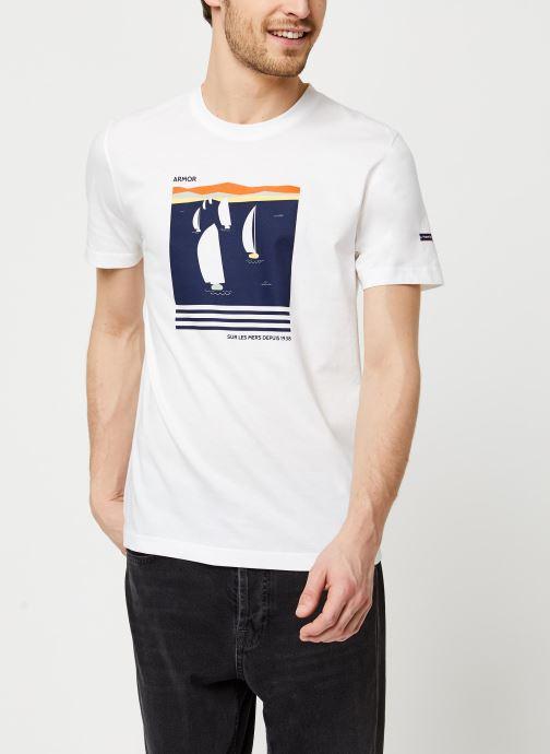 Vêtements Armor Lux T-Shirt Sérigraphié Blanc vue droite