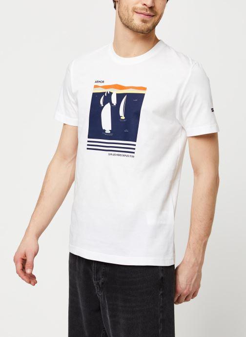 Vêtements Armor Lux T-Shirt Sérigraphié Blanc vue détail/paire