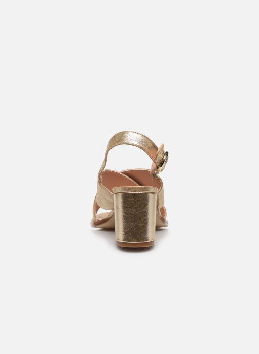 Sandales et nu-pieds Craie Infini Talon Or et bronze vue droite