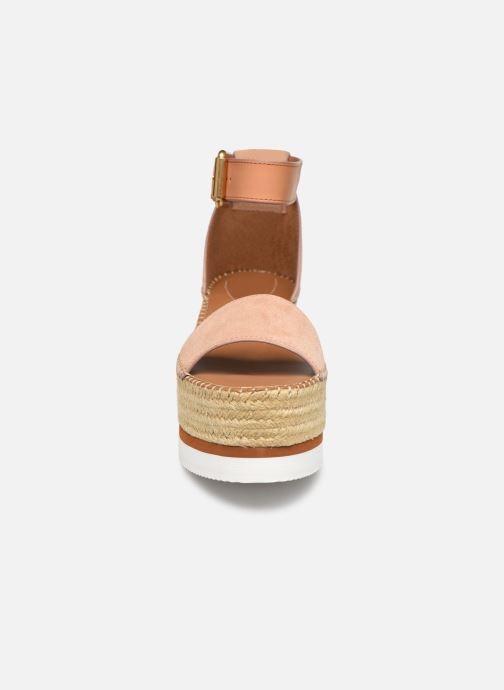 Sandalias See by Chloé Glyn Splash Rosa vista del modelo