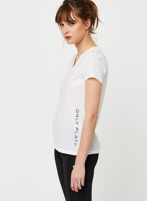 Vêtements Only Play Onpperformance Athl V-Neck Ss Tee Blanc vue droite
