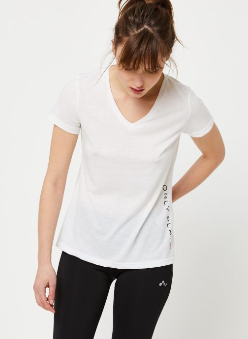 Vêtements Only Play Onpperformance Athl V-Neck Ss Tee Blanc vue détail/paire