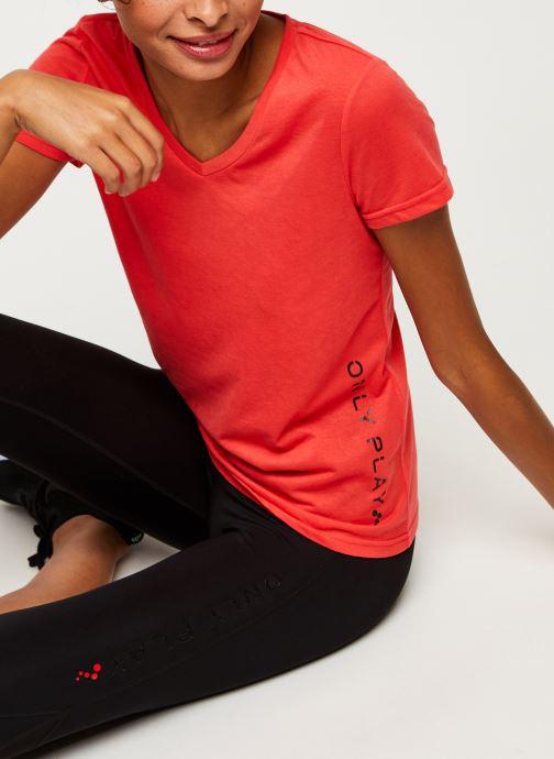 Vêtements Only Play Onpperformance Athl V-Neck Ss Tee Orange vue détail/paire