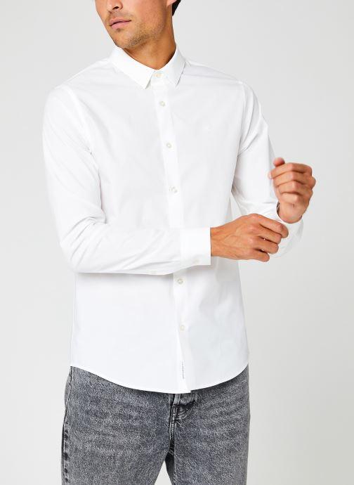 Vêtements Calvin Klein Jeans Ck Chest Logo Slim Stretch Shirt Blanc vue détail/paire