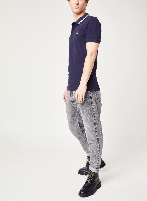 Vêtements Calvin Klein Jeans Ck Essential Tipping Slim Polo Bleu vue bas / vue portée sac