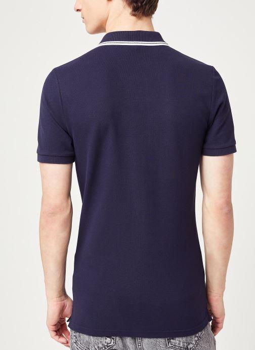 Vêtements Calvin Klein Jeans Ck Essential Tipping Slim Polo Bleu vue portées chaussures