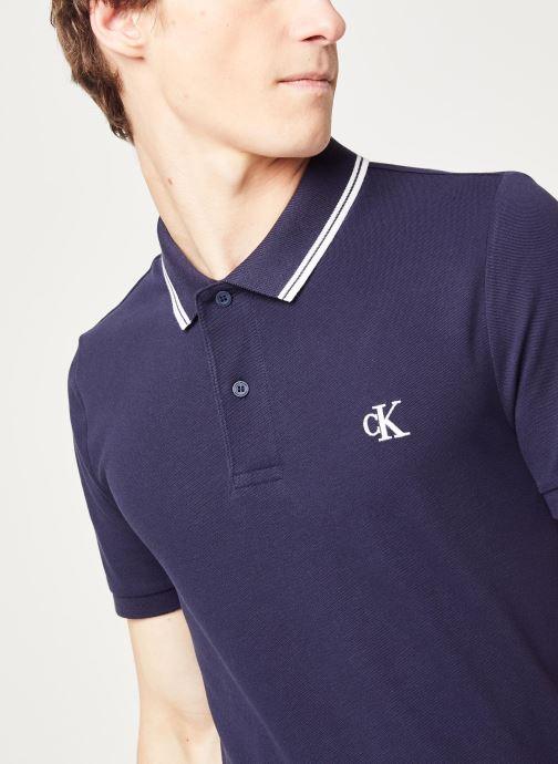 Vêtements Calvin Klein Jeans Ck Essential Tipping Slim Polo Bleu vue face