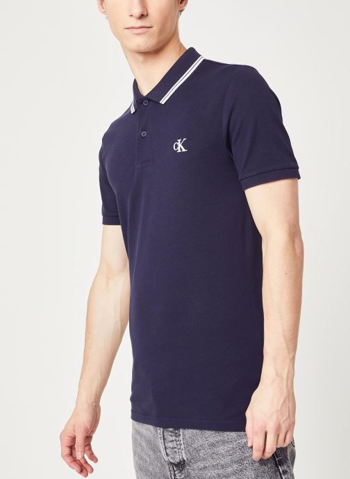 Vêtements Calvin Klein Jeans Ck Essential Tipping Slim Polo Bleu vue droite
