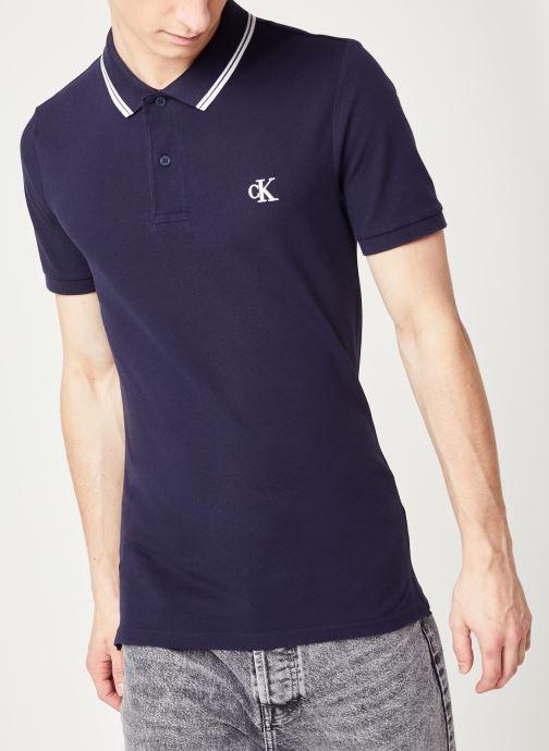Vêtements Calvin Klein Jeans Ck Essential Tipping Slim Polo Bleu vue détail/paire