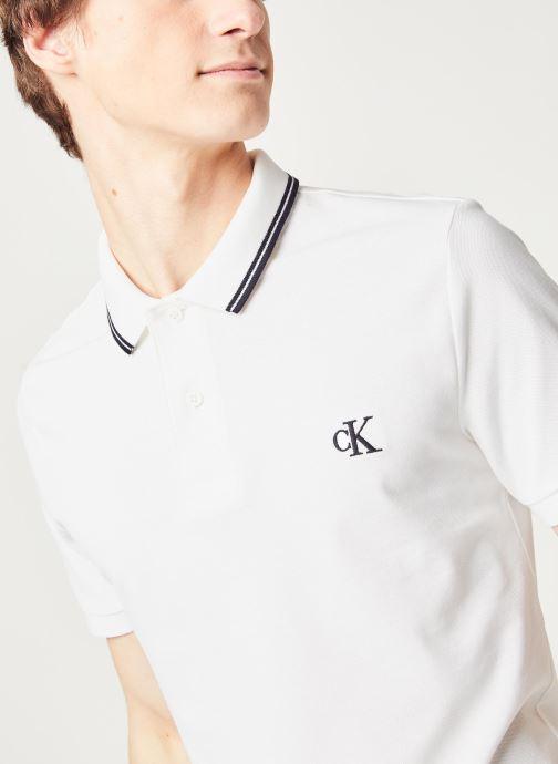 Kleding Calvin Klein Jeans Ck Essential Tipping Slim Polo Wit voorkant