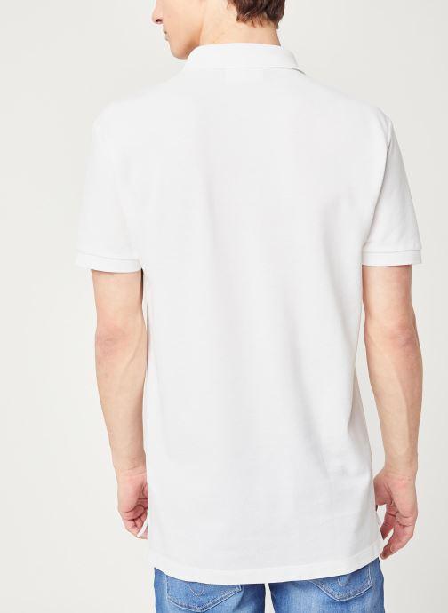 Vêtements Calvin Klein Jeans Ck Regular Polo Blanc vue portées chaussures