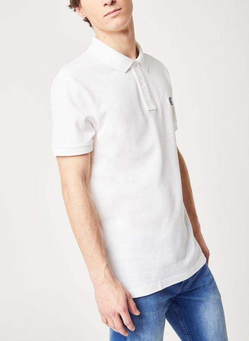 Vêtements Calvin Klein Jeans Ck Regular Polo Blanc vue droite