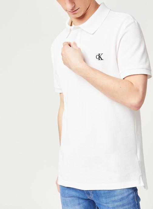 Vêtements Calvin Klein Jeans Ck Regular Polo Blanc vue détail/paire