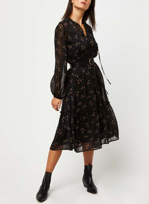 Vêtements OBJECT OBJAVINAJA LS CHIFFON DRESS PB7 Noir vue bas / vue portée sac