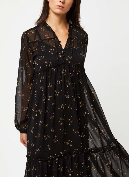 Vêtements OBJECT OBJAVINAJA LS CHIFFON DRESS PB7 Noir vue droite