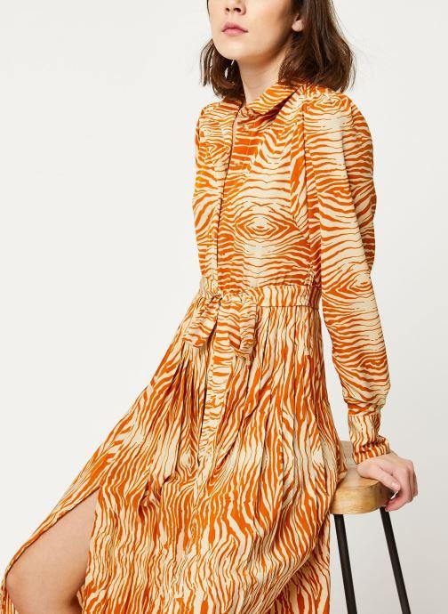Vêtements OBJECT OBJLEANDRA L/S LONG DRESS A Q Marron vue détail/paire