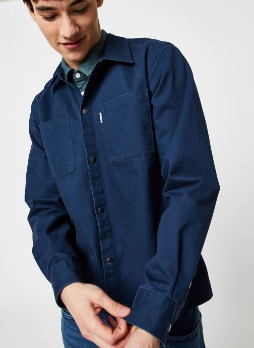 Vêtements Only & Sons Onscris LS Overshirt Bleu vue droite