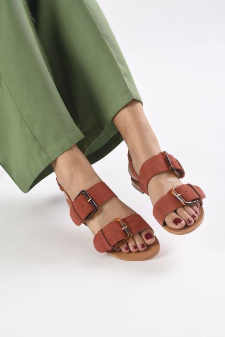 Sandales et nu-pieds Petite mendigote Delon Suede Rouge vue bas / vue portée sac