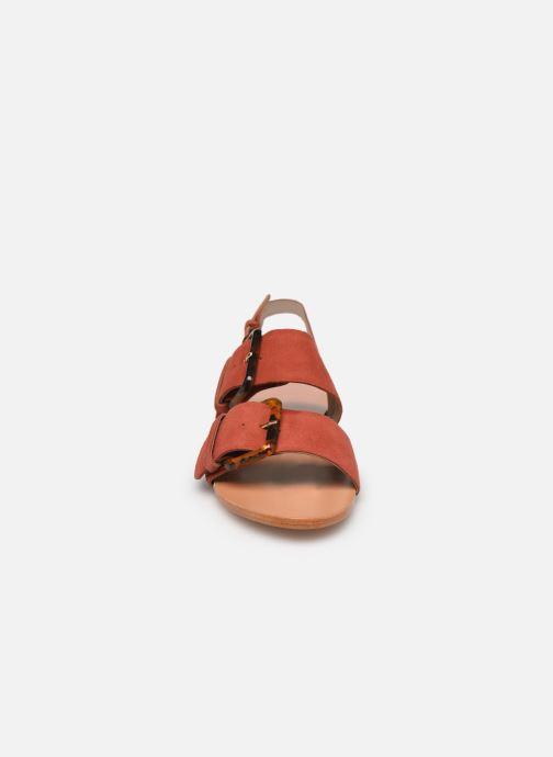Sandales et nu-pieds Petite mendigote Delon Suede Rouge vue portées chaussures