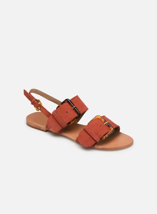 Sandales et nu-pieds Petite mendigote Delon Suede Rouge vue détail/paire