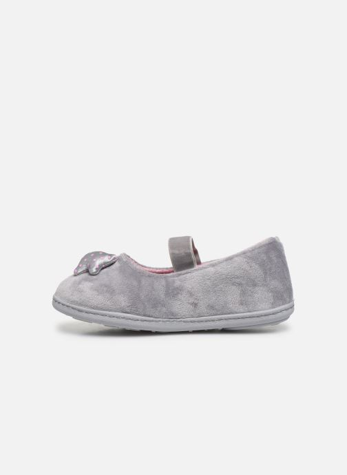 Chaussons Isotoner Ballerine Micro Velours Gris vue face