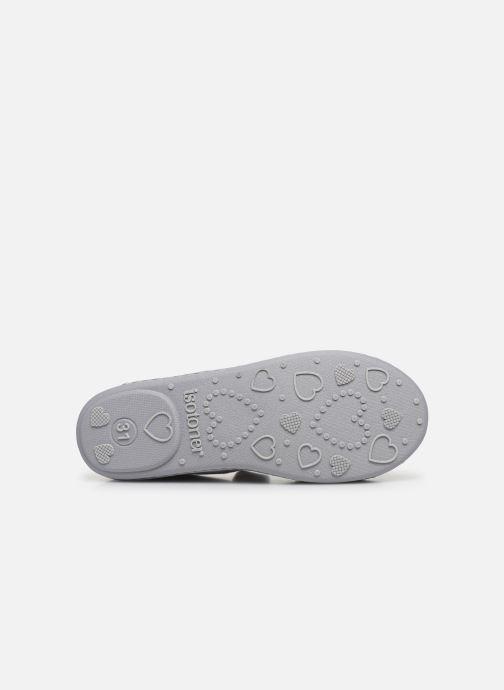 Pantofole Isotoner Ballerine Micro Velours Grigio immagine dall'alto