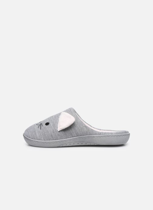 Pantofole Isotoner Mule Fille Jersey Grigio immagine frontale