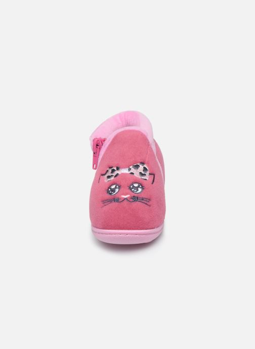 Chaussons Isotoner Bottillon Zip Fille Polyvelours Rose vue portées chaussures