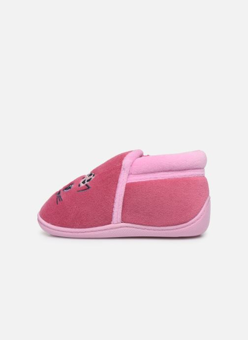 Pantofole Isotoner Bottillon Zip Fille Polyvelours Rosa immagine frontale