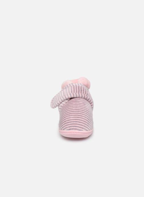 Chaussons Isotoner Bottillon Velcro Fille Velours Rose vue portées chaussures
