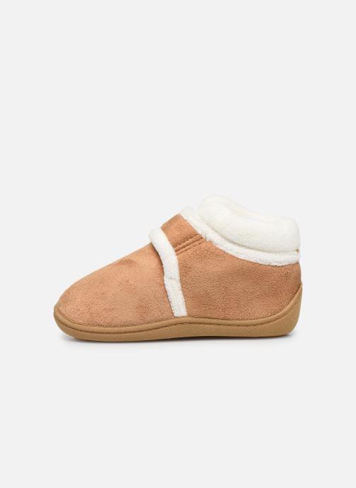 Pantofole Isotoner Bottillon Velcro Marrone immagine frontale