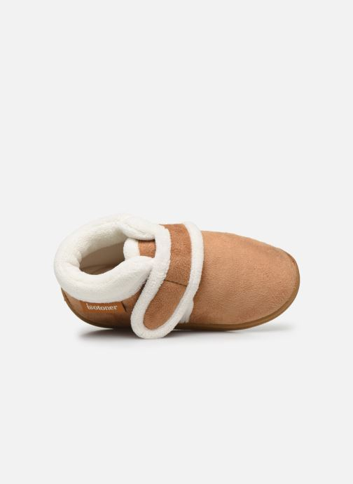 Pantofole Isotoner Bottillon Velcro Marrone immagine sinistra