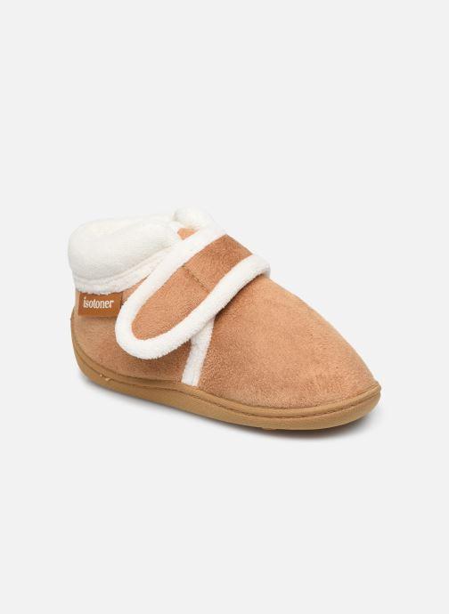 Pantofole Isotoner Bottillon Velcro Marrone vedi dettaglio/paio