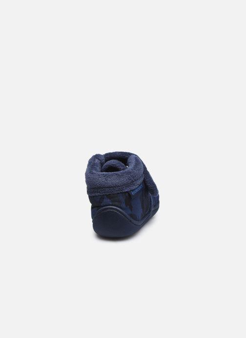 Chaussons Isotoner Bottillon Velcro Bleu vue droite
