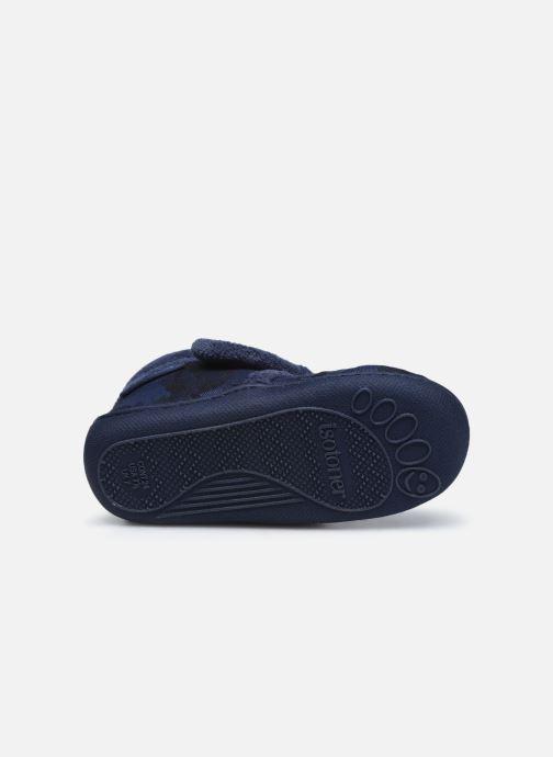 Chaussons Isotoner Bottillon Velcro Bleu vue haut