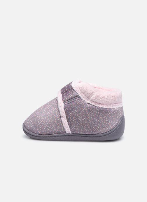 Pantofole Isotoner Bottillon Velcro Grigio immagine frontale