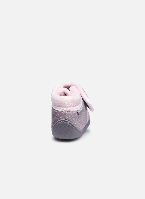 Pantofole Isotoner Bottillon Velcro Grigio immagine destra