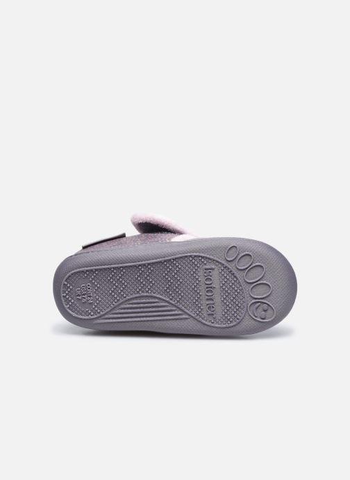 Pantofole Isotoner Bottillon Velcro Grigio immagine dall'alto
