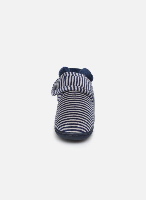 Chaussons Isotoner Bottillon Velcro Garçon Velours Bleu vue portées chaussures