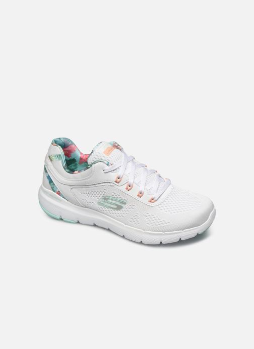 Baskets Skechers FLEX APPEAL 3.0 TROPICAL PRINCESS Blanc vue détail/paire